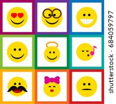 flat icon emoji set of pleasant ... | Shutterstock .eps vector #684059797