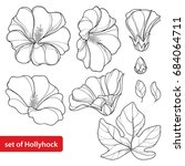 vector set with alcea rosea or... | Shutterstock .eps vector #684064711