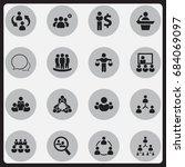 set of 16 editable business... | Shutterstock .eps vector #684069097
