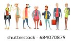 team of teachers retro cartoon... | Shutterstock .eps vector #684070879