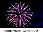 purple pink and white fireworks ...   Shutterstock . vector #684070945
