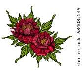 hand drawn peonies. sketch... | Shutterstock .eps vector #684085549