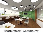 lounge for office workers. 3d...   Shutterstock . vector #684086899