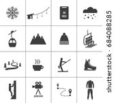set of icons for ski and winter ... | Shutterstock .eps vector #684088285