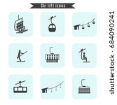 set of ski cable lift icons for ... | Shutterstock .eps vector #684090241