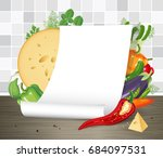 vector mock up. paper poster or ... | Shutterstock .eps vector #684097531