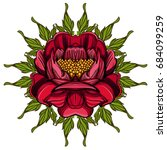hand drawn peony. sketch style. ... | Shutterstock .eps vector #684099259