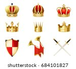 set of realistic golden royal... | Shutterstock .eps vector #684101827