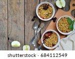 fruits casserole or crumble... | Shutterstock . vector #684112549