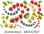 pattern of fresh berries...   Shutterstock . vector #684112567