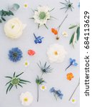 above view of various blue ... | Shutterstock . vector #684113629