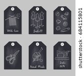 set of tags with handmade icons.... | Shutterstock .eps vector #684115801