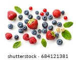 various fresh berries isolated... | Shutterstock . vector #684121381