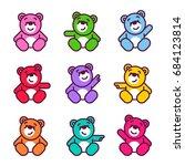vector set of bear icon. flat...   Shutterstock .eps vector #684123814