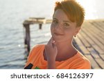 red haired teenager girl with... | Shutterstock . vector #684126397