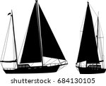 sailboat silhouettes   vector | Shutterstock .eps vector #684130105