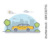 the city yellow yellow taxi cab ... | Shutterstock .eps vector #684130741