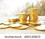 stack of money  rows of coins... | Shutterstock . vector #684130825