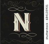 retro style. western letter... | Shutterstock .eps vector #684135931
