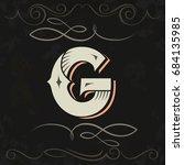 retro style. western letter... | Shutterstock .eps vector #684135985