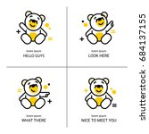 vector set of bear icon. flat... | Shutterstock .eps vector #684137155