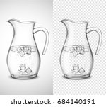glass jug with water ice cubes... | Shutterstock .eps vector #684140191