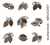 cocoa beans set. pod with... | Shutterstock .eps vector #684142057