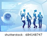 cheerful group of business... | Shutterstock .eps vector #684148747