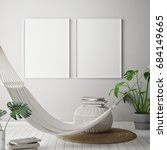 mock up poster frame in... | Shutterstock . vector #684149665