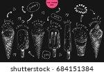 set of hand drawn ice cream... | Shutterstock .eps vector #684151384