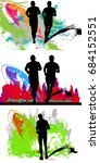 marathon runners | Shutterstock .eps vector #684152551