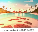 sea shore beach with villa...   Shutterstock .eps vector #684154225