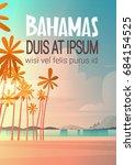 bahamans sea shore beach on... | Shutterstock .eps vector #684154525
