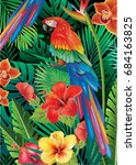 parrot with tropical plants | Shutterstock .eps vector #684163825