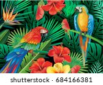 parrots with tropical plants | Shutterstock .eps vector #684166381