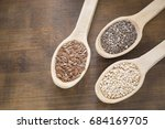 seeds of quinoa  linseed and... | Shutterstock . vector #684169705