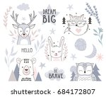 Stock vector scandinavian style design element for nursery forest animals collection with lettering element 684172807