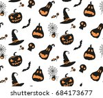 halloween pattern with pumkins  ... | Shutterstock .eps vector #684173677