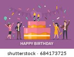 happy birthday concept banner.... | Shutterstock .eps vector #684173725
