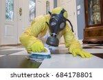 mature woman in yellow haz mat... | Shutterstock . vector #684178801
