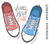 pop art man woman sneakers legs ...   Shutterstock .eps vector #684183625