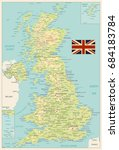 united kingdom physical map... | Shutterstock .eps vector #684183784