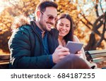 dating. handsome young couple...   Shutterstock . vector #684187255
