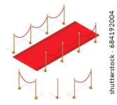 isometric red event carpet and... | Shutterstock .eps vector #684192004