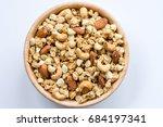 bowl of muesli and granola...   Shutterstock . vector #684197341