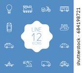 set of 12 transport outline... | Shutterstock .eps vector #684198721
