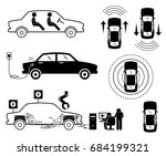 driverless car. illustrations... | Shutterstock .eps vector #684199321