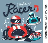 vintage race cars typography t... | Shutterstock .eps vector #684199705
