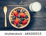 homemade granola with...   Shutterstock . vector #684200515