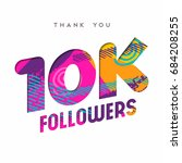 10000 followers thank you paper ... | Shutterstock .eps vector #684208255